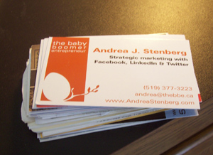 business cards pile